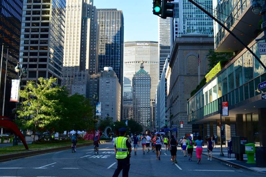 The best part of the long run? Summer Streets! They close Park Ave. for miles. I'm the one in neon yellow (who isn't NYPD)