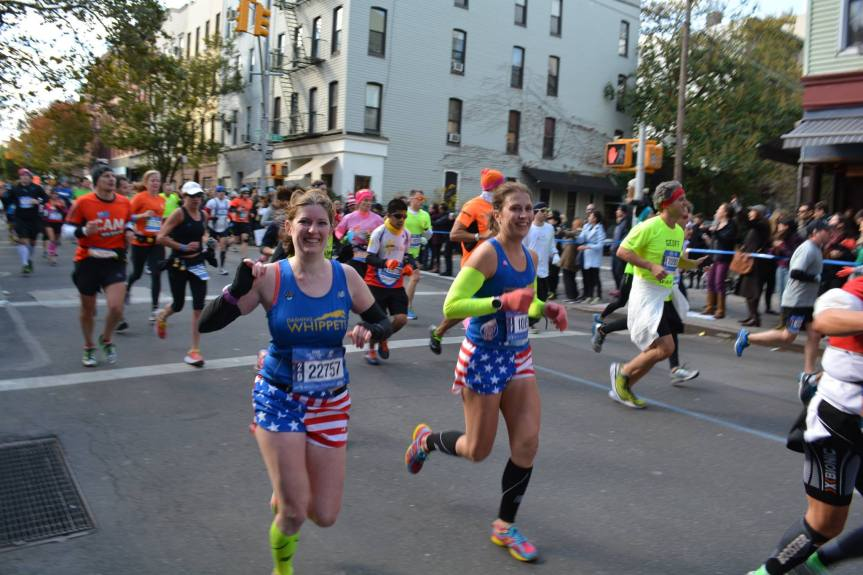 Flashback to New York City Marathon, 2014, and the best race outfit ever.